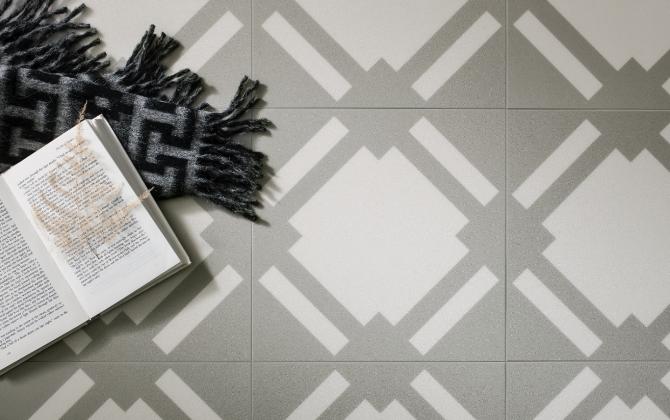 grey check vinyl floor tiles