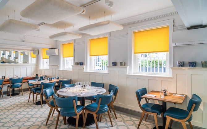 blue vinyl floor tiles in cafe