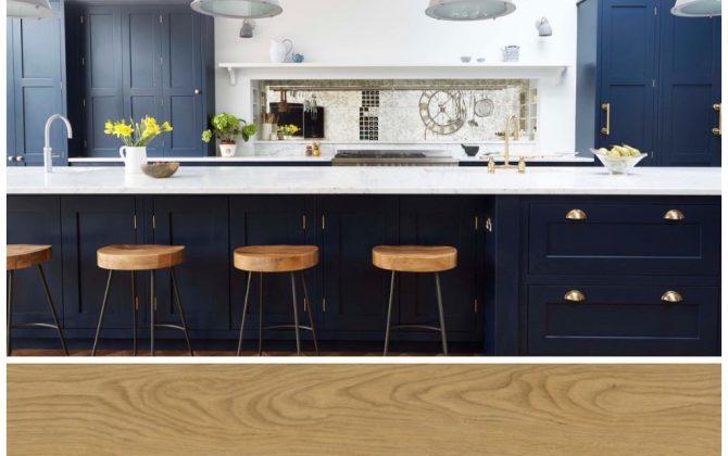 deep blue modern kitchen units breakfast bar