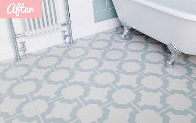 eggshell blue bathroom flooring