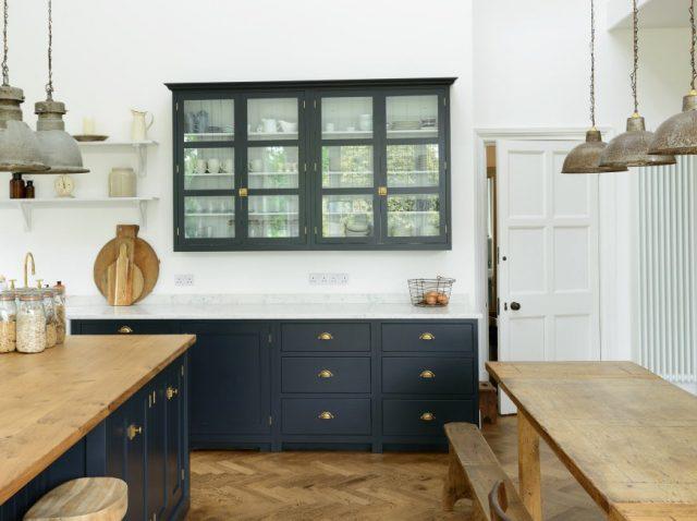 devol kitchen with dark cupboards