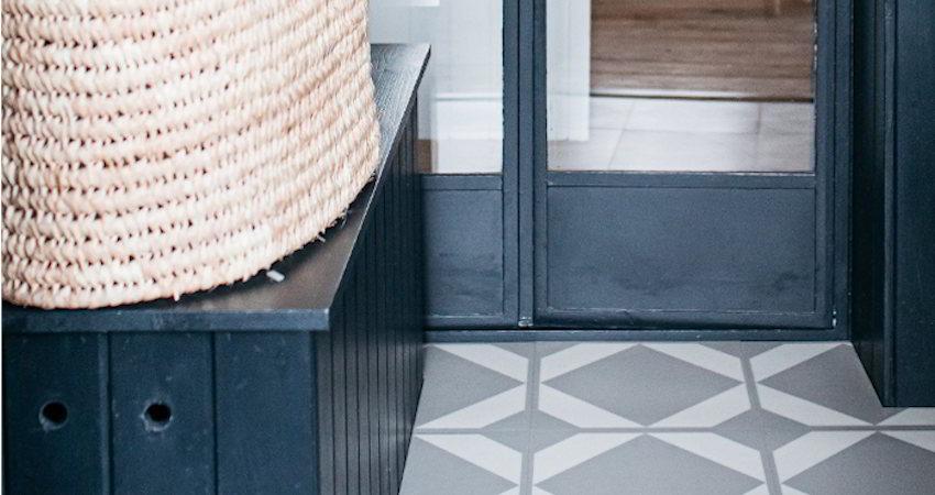 neutral pantry floor tiles with wicker basket