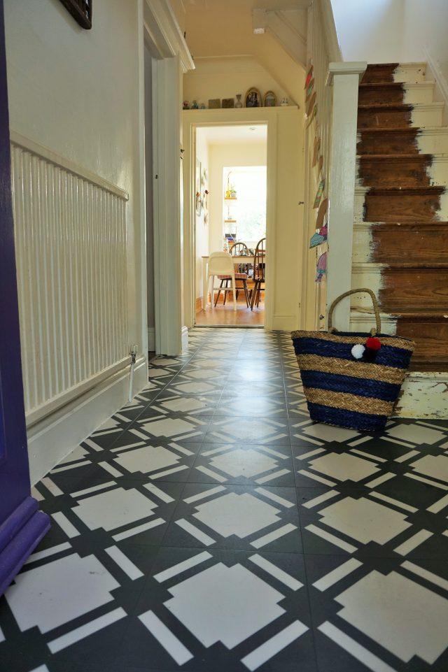 check slate vinyl tile in hallway