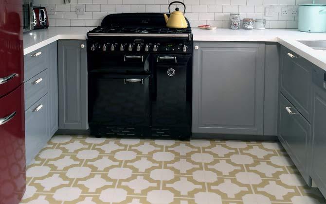 yellow decorative flooring tiles