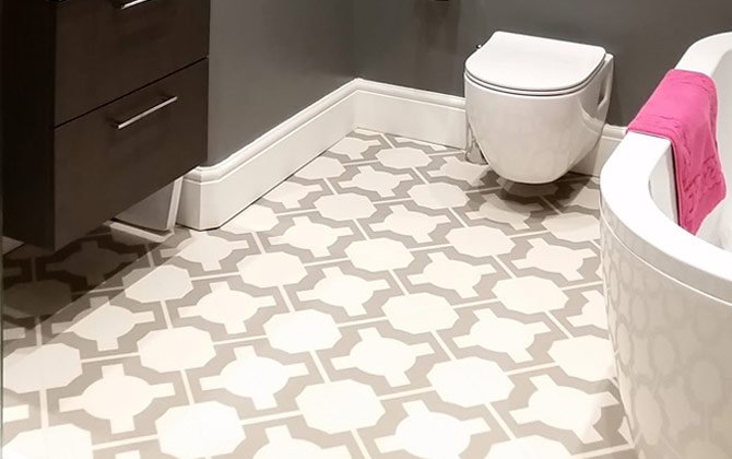 neutral parquet vinyl bathroom flooring