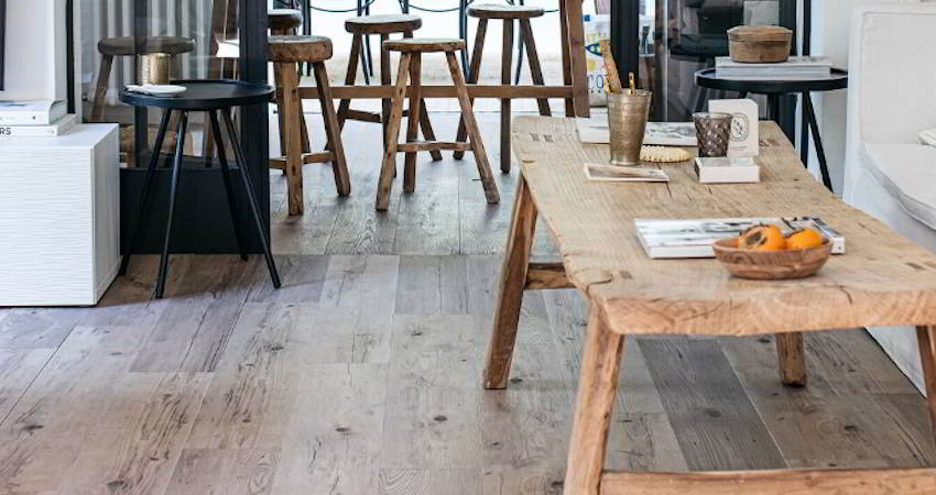 wood effect floor tiles with real wood furniture