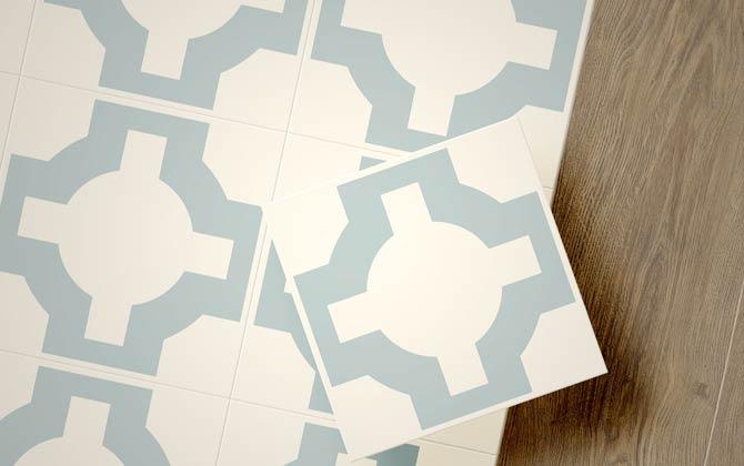 eggshell blue parquet flooring