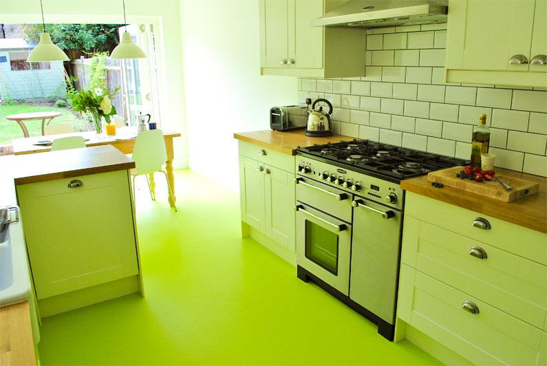 pistachio green floor in green kitchen
