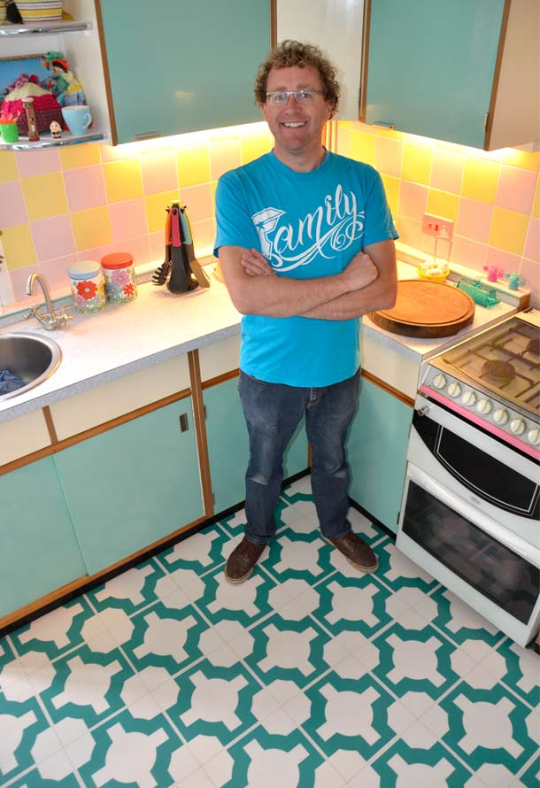 Simon standing on his beautiful kitchen floor