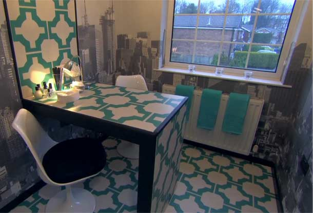 Nail Salon with stylish turquoise flooring