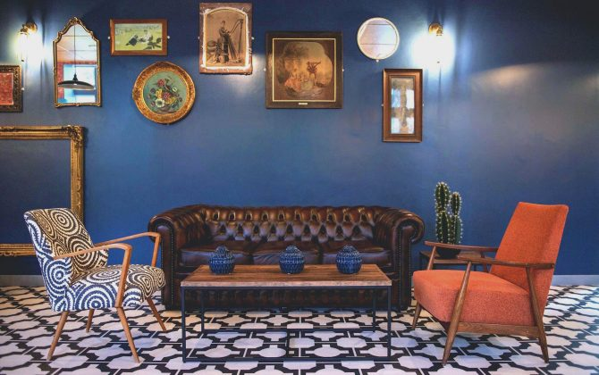 retro living room space with monchrome floor tile