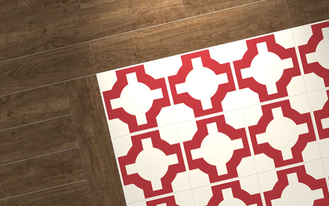 red lvt fllooring with wooden border