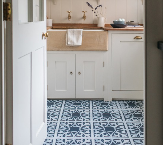 navy blue floor tiles in pantry