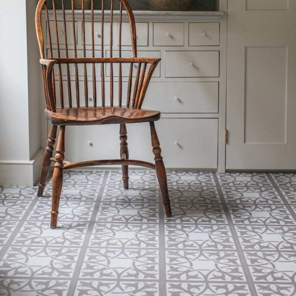 patterned floor in a utility room