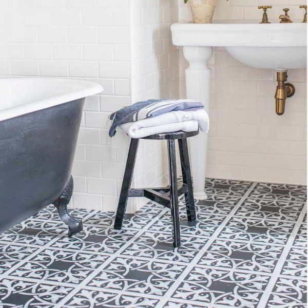 monochrome modern bathroom flooring