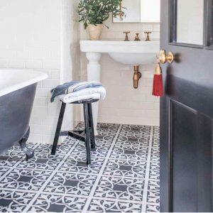 Victorian tile vinyl bathroom floor