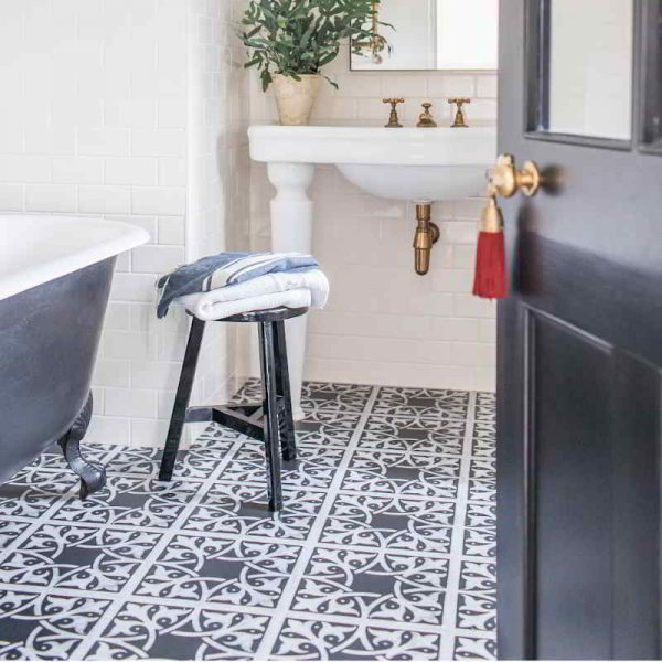 Victorian tile vinyl bathroom floor