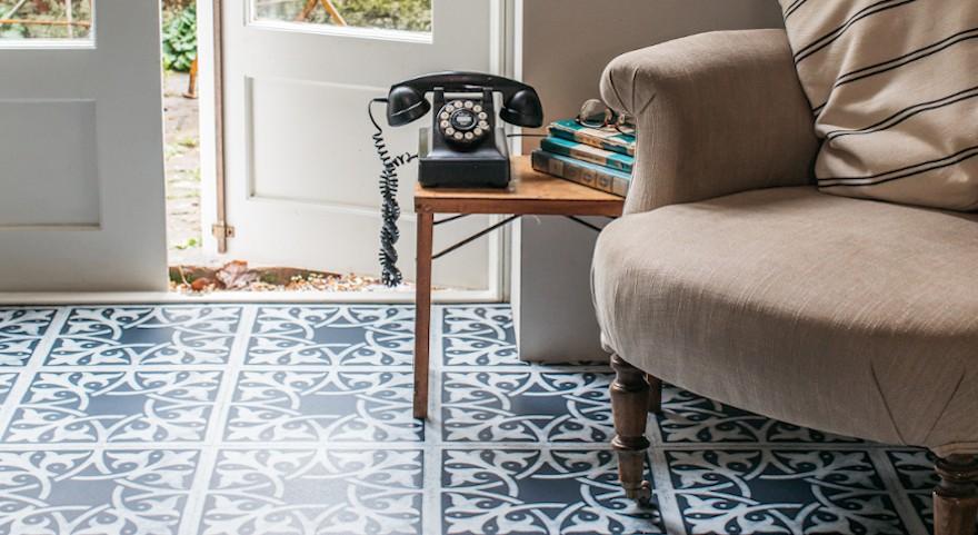 dark blue vinyl floor in conservatory