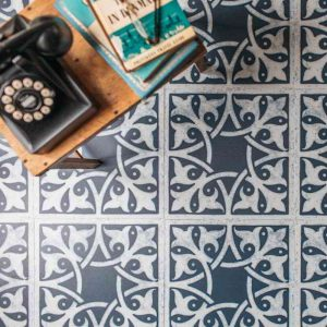 blue living room floor patterned tiles