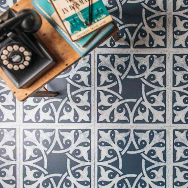 blue living room floor pattern
