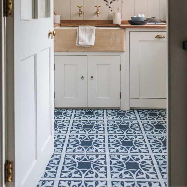 blue cottagecore pantry vinyl floor tiles