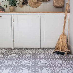 neutral flooring in a utility room