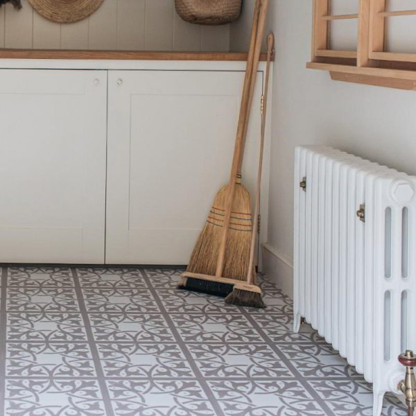 patterned luxury vinyl tile floor in pantry