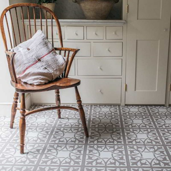 rustic utility room with pattern flooring