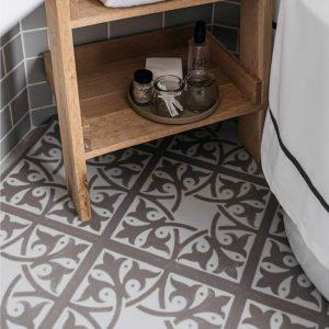 neutral bathroom with decorative floor tiles