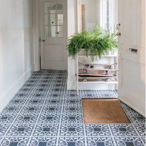 black pattern LVT floor in hallway