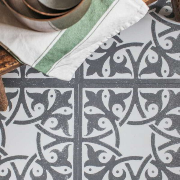 grey victorian vinyl tile pattern