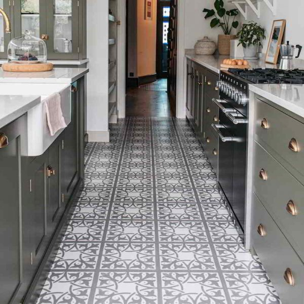 neutral patterned devol kitchen floor