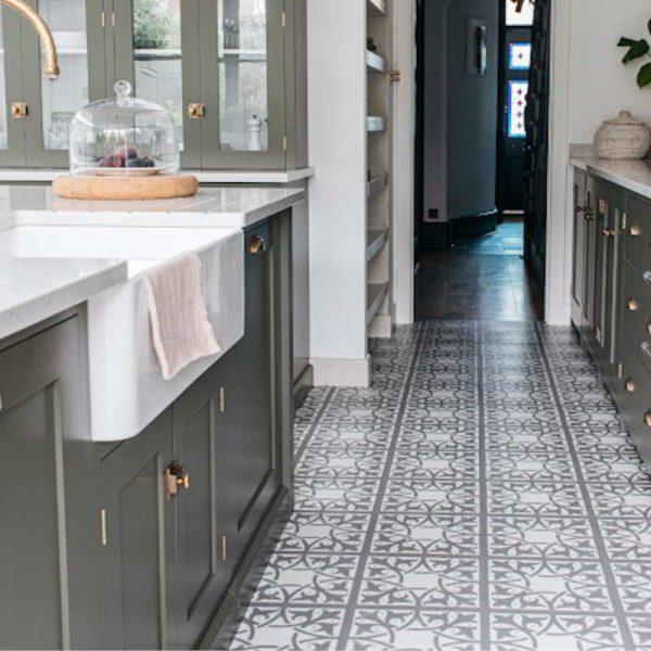 light modern green devol kitchen with pattern floor