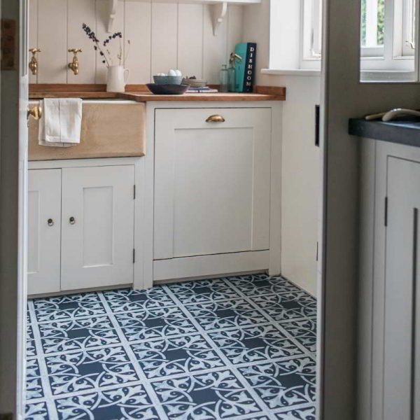 blue kitchen luxury vinyl floor pattern