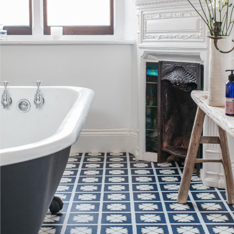 Pattern Larkspur Harvey Maria, Blue Bathroom Flooring