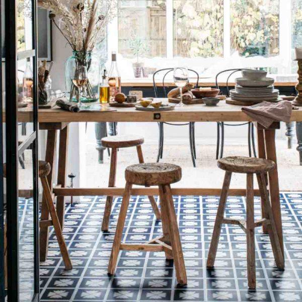 blue dining room floorinh