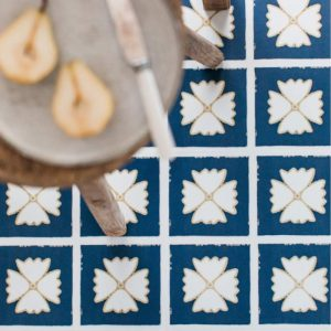 blue and yellow lvt floor tiles in kitchen