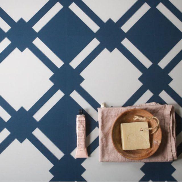 blue patterned floor in bathroom