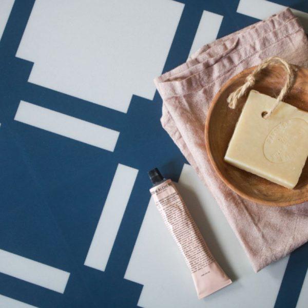 white blue floor