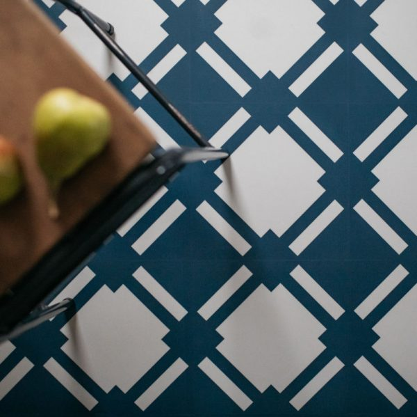 blue geometric floor tiles patterned design