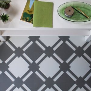 grey pattern floor in modern living room with green coffee table decor