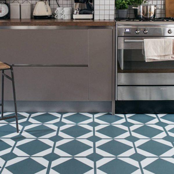green grey kitchen floor