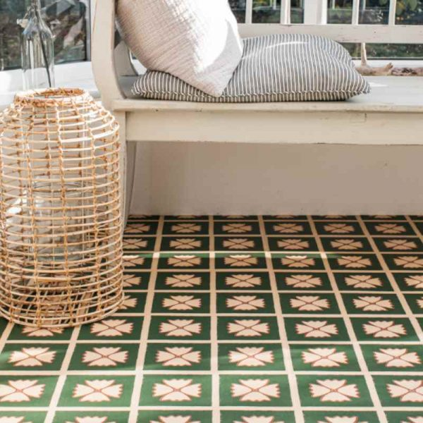 floral green pattern floor