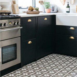 grey pattern kitchen white floor in contemporary interior