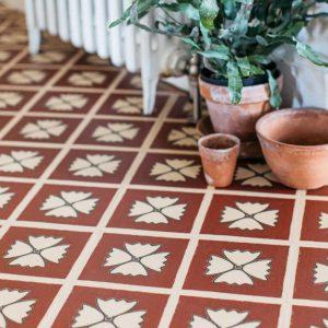 terracotta vinyl floor with plants