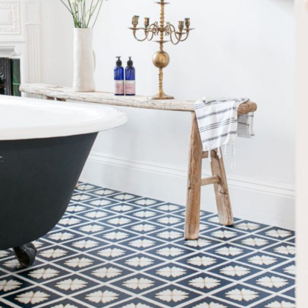 blue white bathroom floor