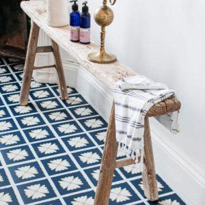 blue patterned flooring in modern bathroom