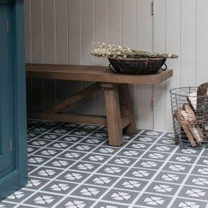 grey lvt floor tiles in rustic kitchen space