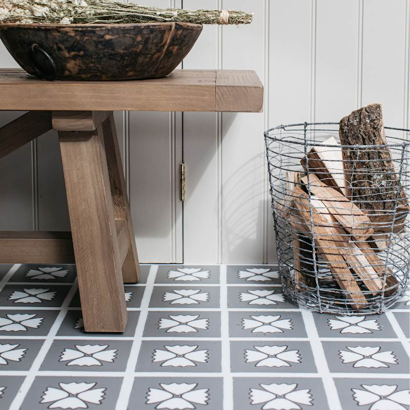 patterned grey floor tiles in modern rustic kitchen