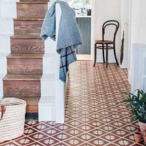 luxury vinyl terracotta floor in hallway
